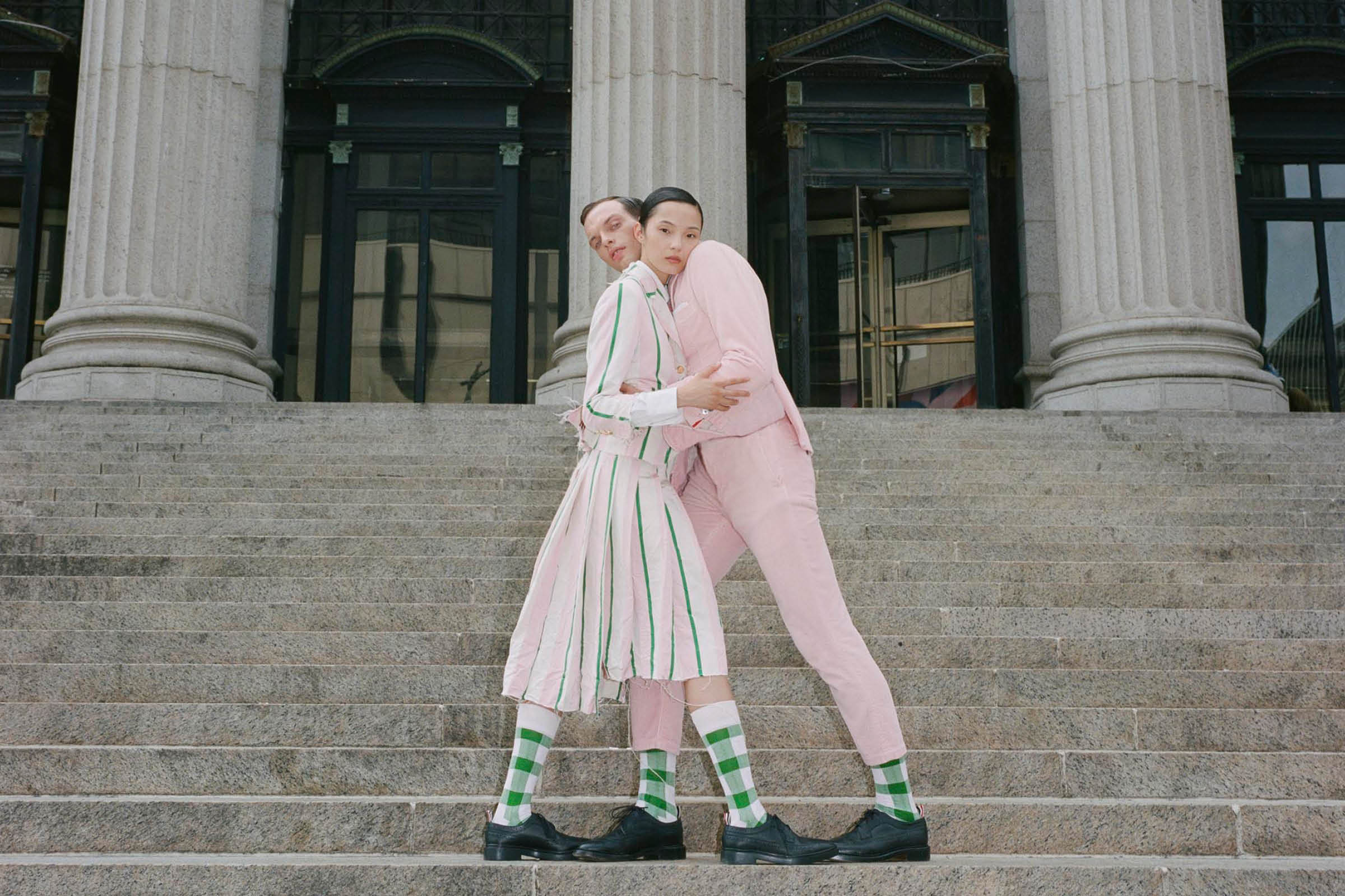 xiao and rocky wearing pink and green in new york.