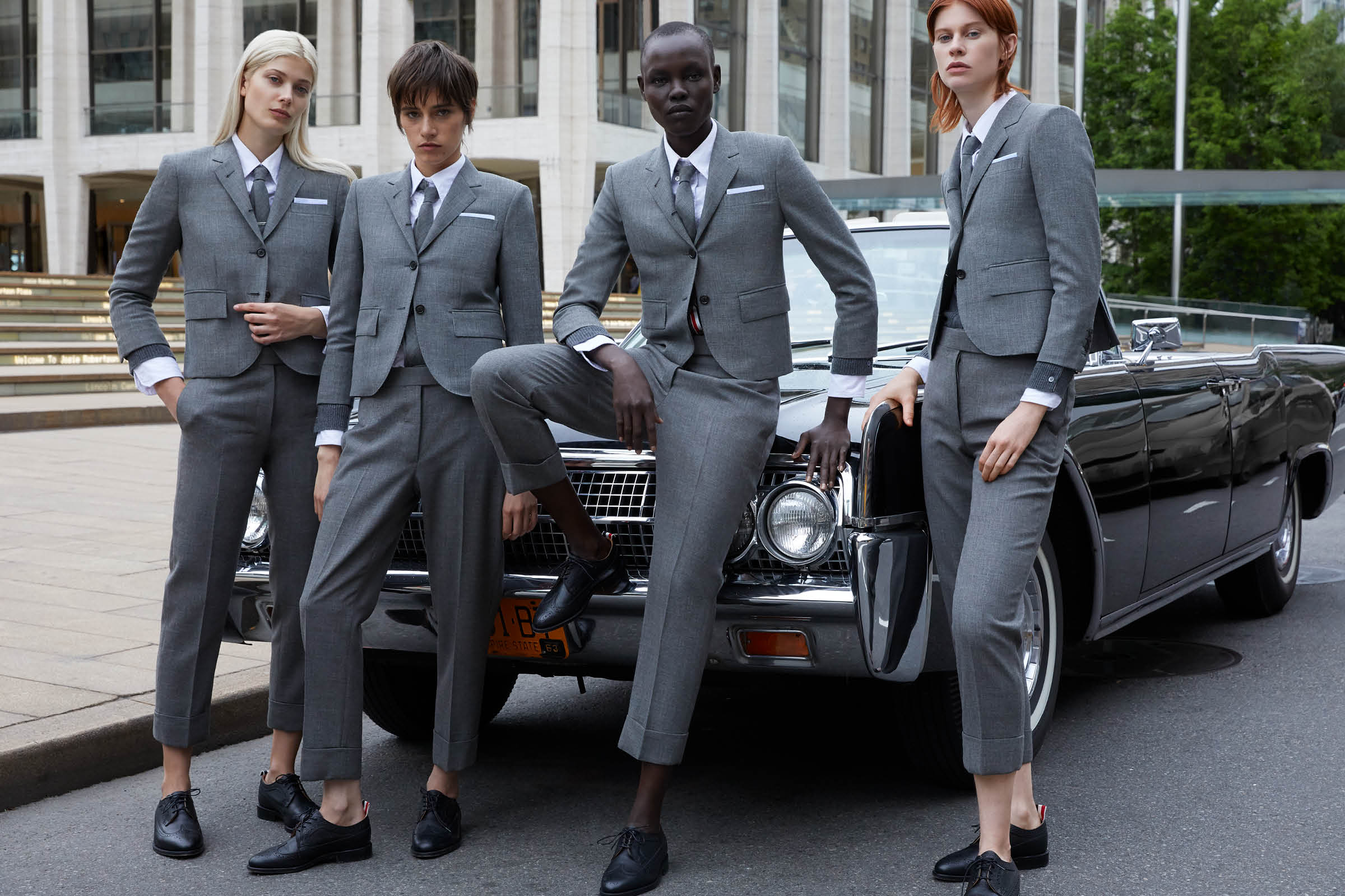 the group in thom browne tailoring